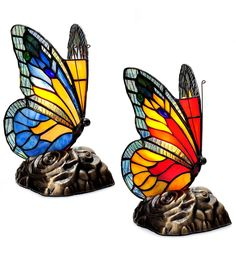 Touch-Activated Butterfly Accent Lamps, Set of 2 in Lamps and Lighting