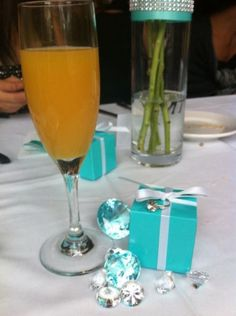 Diva & Co a Breakfast at Tiffany's Champagne Bridal Brunch :  wedding maid of honor shower breakfast at tiffanys shower ideas blue tiffany blue champagne brunch teal navy white bridesmaids cake inspiration diy Mimosas