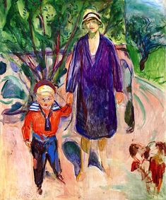Woman with Small Boy  Edvard Munch - 1930