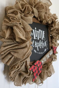 Buffalo Plaid Rustic Country Wood Sign Wreath -  Perfect for a little boys room that is ready to take on the World.  Red Plaid, Black, Red, Tan, Brown, Burlap, Arrow, Explorer, Black Sattin. Little Explorer, Into the Wild sign