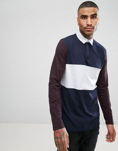 ASOS Longline Rugby Polo Shirt With Coloublocking And Contrast Sleeves