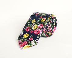 Dark Navy Blue Pink Yellow Floral Tie Mens Floral Tie Wedding Tie Men's Gift…