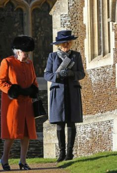 (L-R) Queen Elizabeth II and Camilla, Duchess of Cornwall attends Christmas day church service 2013 at Sandringham