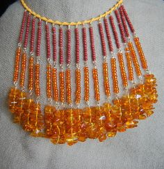 Long beaded necklace amber orange
