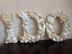 Beach Wedding Seashell Letters - I Do - White Seashell Letters - Beach Wedding Sign - Seashell Decor, Beach Decor, Coastal Home decor. $60.00, via Etsy.
