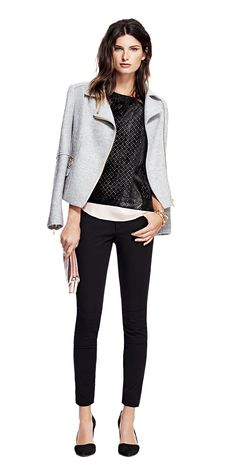 Go from day to night in a Laser-Cut Tee and Moto Jacket from Banana Republic.