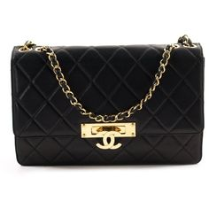Chanel Golden Class Large Flap Bag (15.190 RON) ❤ liked on Polyvore featuring bags, handbags, chanel purse, pre owned purses, quilted leather bag, quilted leather handbags and pre owned handbags