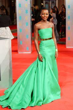 Who: Lupita Nyong'o  Wearing: Christian Dior Couture Where: 2014 British Academy Film Awards