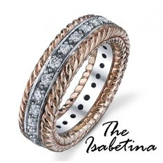 The Isabetina  ##117-10229    The Isabetina- .68ct round brilliant cut diamond eternity ring prong set in a two tone 14kt white and yellow gold.  http://www.georgethompson.com/anniversary-bands/the-isabetina.html#
