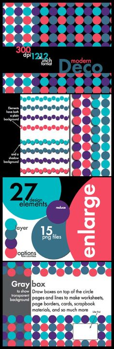 "Check out this FREE way to add energy and ""pop"" to your worksheets and products. A variety of art deco-inspired colors bring lots of flexibility and lively hues to your designs.  These full-page backgrounds, lines, and individual circles (most with and without shadow effects) allow for easy printing/photocopying. Transparent backgrounds also make for easy, attractive layering effects. FREE!"
