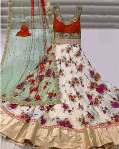 Buy Trishulom Branded Hit Red Long Anarkali Semi-Stitched Printed Gown Online…