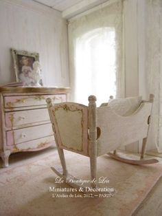 Pink cradle, sweet nursery - French dollhouse 1/12th scale miniature furniture. €35.00, via Etsy.