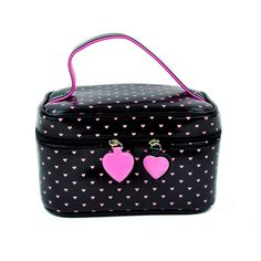 Addicted Black & Pink Heart Makeup Bag / Purse : Purses & Bags