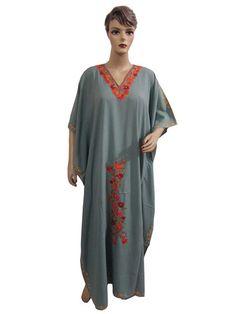 Hippy Boho Caftan Crewel Embroidered Kaftan Top Long Maxi Crepe Dress One Size | eBay   US $39.99