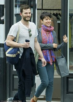 Fighting fit: Jamie Dornan stepped out with wife Amelia Warner on Wednesday after visiting their local gym