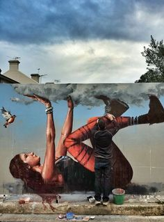 Fintan Magee trying to hold back the rain!
