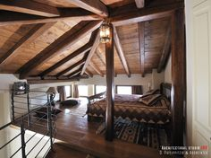 Bedrooms _ attic   handcrafted   stone house   mountain Pelion   interior design   construction   wooden roof _ visit us at: www.philippitzis.gr