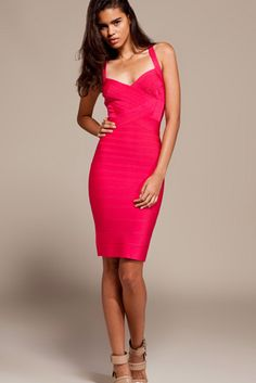 Herve Leger Cross Back Bright Rose Dress Price: $1,710.00  $219.00 Save: 87% off