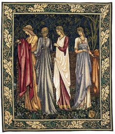 70x58 CAMELOT LADIES Medieval Art Tapestry Wall Hanging