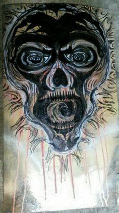 Prob shld go get welding gas lol...  #TheBeardedWelder #painting #scratching #art #outtaweldinggas #skull #deez