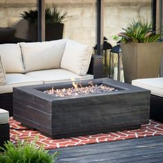Red Ember Bozeman Rectangle Propane Fire Table with Optional Tank Hideaway