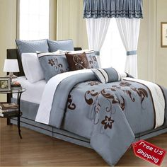 24 pc Set King Queen Comforter Sheets Shams Bed Skirt Pillows Valances Drapes  #CasualClassicContemporaryModernPatterned