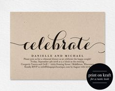 Celebrate Party Invitation Wedding Rehearsal by BlissPaperBoutique