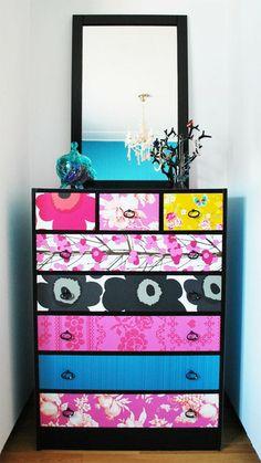DIy wallpaper dresser on ROOM and serve Furniture Makeover, Diy Furniture, College Furniture, Dresser Makeovers, Wallpaper Dresser, Diy Wallpaper, Wallpaper Samples, Colorful Wallpaper, Do It Yourself Design