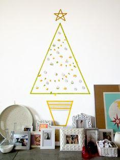 Arbol de navidad hecho con washi tape