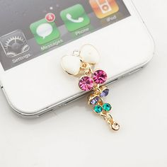 Bling Rhinestone Whte Bow Home Button Sticker, phone charm accessary for iPhone…