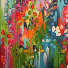 vibrant, bohemian, and intricate art — Stephanie Corfee Just loving the layering and variety of colour. I would so love something like this in the lounge. Might have to spend a bit of time working out a pallet. Abstract Flowers, Abstract Art, Flower Painting Abstract, Tomie Ohtake, Wal Art, Arte Floral, Acrylic Art, Love Art, Painting Inspiration