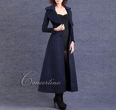 Dark Orange Wool coat women&39s long Coat women dress coat with hair
