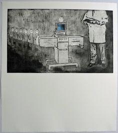 Grabado de Ana Valenciano disponible en la galería online de FLECHA, precio 200€.  Mas info: http://www.flecha.es/Comprar-obras-de-Ana-Valenciano/Grabado-El-reconocimiento-médico/672/