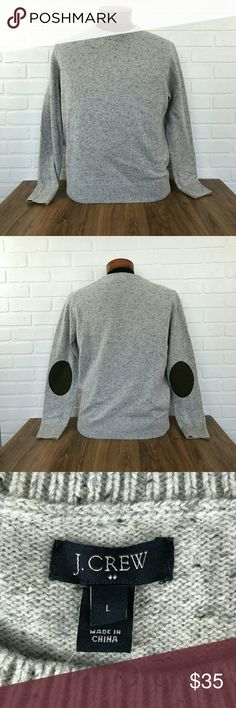 New NWT J.crew Gray Brown Elbow Patch Crew Neck Brand                       : J. Crew  Size                          : Men's Large Style                         : Sweater Color                        : Gray - Brown Material                   : 80% Lambs Wool 20% Nylon Elbow Patches Faux leather Measurements      : Chest 23, Length 26.5 , Sleeve 25 Inventory                 : P46 J. Crew Sweaters