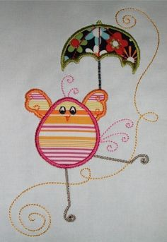 Swirly Chick Applique design A 5 x 7 hoop by DBembroideryDesigns. $3.99, via Etsy.
