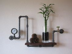 Even has the pressure gauge! Single Valve and Pressure Gauge Pipe Shelf by vintagepipedreams, $209.00