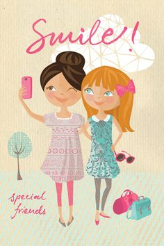 Kids character girls Smile birthday card Ohn Mar Win