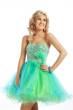 2013 Prom Dresses - Turquoise & Neon Green Chiffon Sweetheart ...