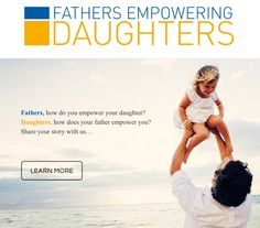 Fathers - How do you empower your daughter? Daughters - How does your father empower you? Share your story. #G(irls)20 #globalcampaign #empoweringgirls #FathersDayideas #parenting #videoideas for school http://fathersempoweringdaughters.org/#howitworks Send out your video as a #personalized #ecard to a loved one. #fathersanddaughters #empoweringwomen