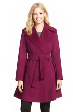 Trina Turk 'Violet' Wool Blend Wrap Coat (Regular & Petite)