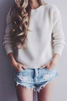 knit sweater + denim shorts #oneteaspoon