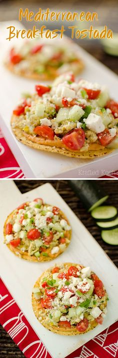 Mediterranean Breakfast Tostadas - Krafted Koch - Mediterranean Breakfast Tostadas are a quick and healthy breakfast recipe that will fill you up and fuel you for the day with fantastic Greek flavors!