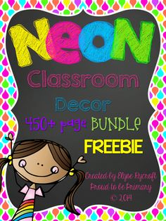 NEON and Chalkboard Classroom Decor FREEBIE - Behavior Chart by Proud to be Primary www.proudtobeprim...