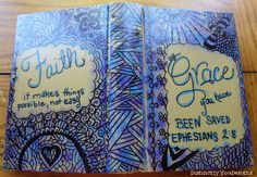 Christian Journal, Scripture, Christian Zentangle, Upcycled Journal, OOAK, Smash Book, Alternative, Guest Book, Diary, Blue, Purple, Gifts, - pinned by pin4etsy.com