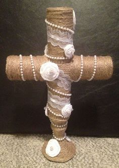Cross made from toilet paper rolls, c Dollar tree candle holder, lace and beads