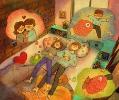 puuung-love-is-illustration-art-book-cosmic-orgasm-lovers-daily-life-small-things-dream-bed-cat