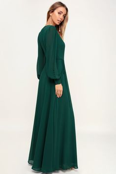It's easy to be swept away by the romance of the Lulus My Whole Heart Emerald Green Long Sleeve Wrap Dress! Long sleeve wrap maxi dress with round button deets. Emerald Green Bridesmaid Dresses, Winter Bridesmaid Dresses, Bridesmaid Dresses With Sleeves, Emerald Green Dresses, Maxi Dress With Sleeves, Modest Dresses, The Dress, Maxi Dresses, Emerald Green Wedding Dress