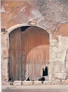 Pilar S. Robles. Puerta castellana. Pastel. VENDIDO  Obra premiada en certamen de pintura