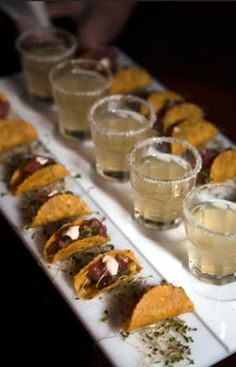 Mini tacos and margaritas in shot glasses for cocktail hour. I love the food an… Mini tacos and margaritas in shot glasses for cocktail hour. I love the food and beverage mini-combos. by deena Mini Tacos, Think Food, Love Food, Taco Bites, Do It Yourself Food, Wedding Reception Food, Wedding Ideas, Wedding Catering, Trendy Wedding