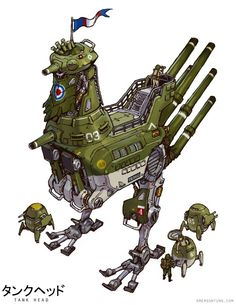 """Tagged with art, mecha monday, but on a tuesday; Shared by Emerson Tungs """"Tankhead"""" (and some jetheads too) Robot Concept Art, Robot Art, Character Concept, Character Art, Character Design, Robot Animal, Arte Cyberpunk, Fighting Robots, Futuristic Art"""